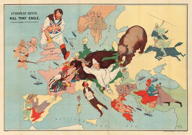 Güven gösteren muhteşem bir harita Rusya, Fransa ve Britanya İmparatorluğu'nun birleşik kudreti hızla Almanya ve onun soytarılıktan müttefiki Avusturya-Macaristan İmparatorluğu'nu yenilgi olacağını Büyük Savaş'ın başında birçok kişi tarafından hissedilir.
