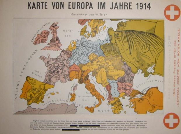 Sanatçıların bazıları oldukça ünlü oldu. Bu Karte von Europa im Jahre 1914 Walter Trier, zamanda onun orta yirmili genç bir adam tarafından bir nispeten erken eseridir. Daha sonra Erich Kastner Emil ve Dedektifler resimli ve çocuklar için yaptığı illüstrasyonlar muhtemelen onun en kalıcı miras vardır. Trier Prag'da Almanca konuşan Yahudi bir ailenin çocuğu olarak dünyaya geldi ve 1910 ile o kaymaya ediyorum, doğal olarak yeterli, Berlin, ama 1936 yılında Londra için Berlin kaçtı. Bir kova-dişli olarak İngiltere'yi gösteren bu harita, bakmak için ilginç Scotsman, anti-Nazi malzemenin İkinci Dünya Savaşı sırasında İngiltere'de oluşturulan sürgün Trier bağlamında, onun kilt etek altında donanmasını saklanıyor.