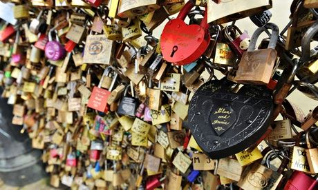 Love locks Pont des Arts Paris France