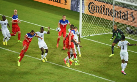 John Brooks of the United States scores his team's second goal with a header past Adam Kwarasey of Ghana.