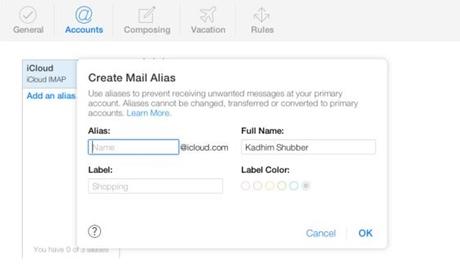 Create Aliases   iCloud
