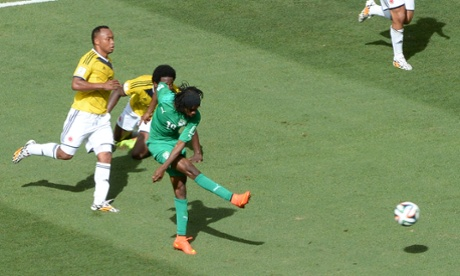 Ivory Coast's forward Gervinho scores to get his team back in the game.