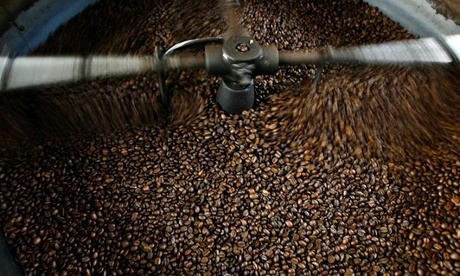 Roasted coffee for the Costa Rican domestic market cools at a processing plant in Atenas
