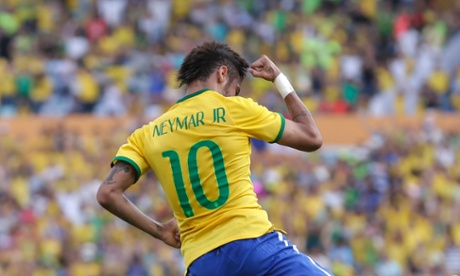 Brazil's Neymar celebrates after scoring against Panama.