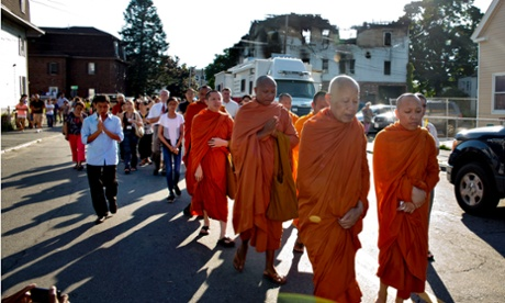 Monks at Lowell fire