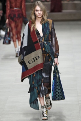 Cara Delevingne walks the runway at the Burberry Prorsum Ready to Wear Fall/Winter 2014-2015