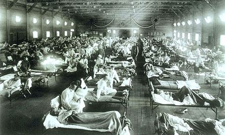 Soldiers with Spanish influenza in a hospital ward