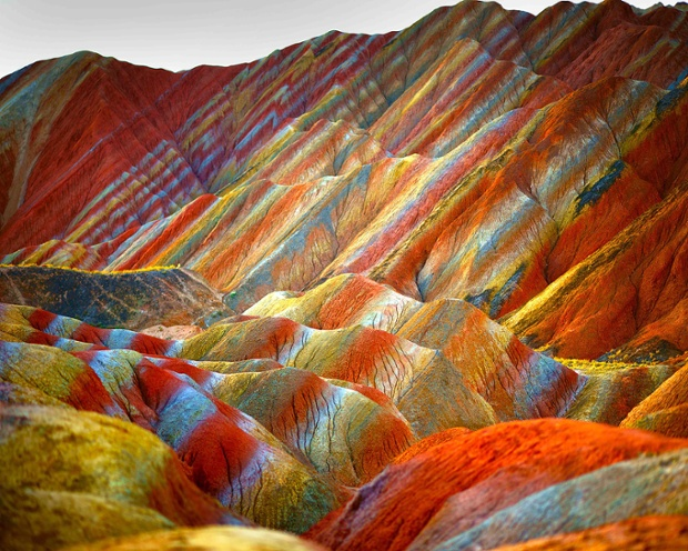 Rock formations at the Zhangye Danxia Landform Geological Park in Gansu Province, China.