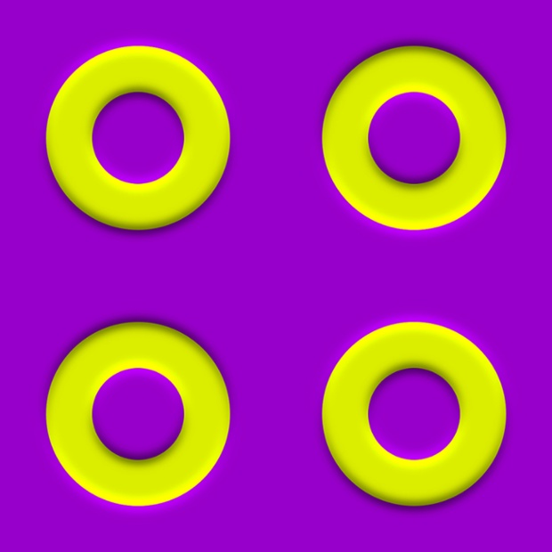 Swimming Rings - appear to approach each other and move apart