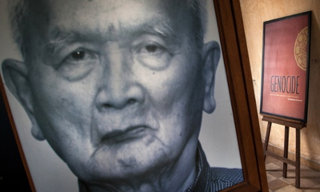A photograph Nuon Chea on display in Tuol Sleng prison, believed to have held approximately 14,000 prisoners while in operation under the Khmer Rouge –mostly intellectuals, officials or those deemed traitors.