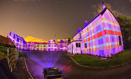 Northern lights … Leyden Farm in West Lothian has been bathed in tartan by Projector Club.