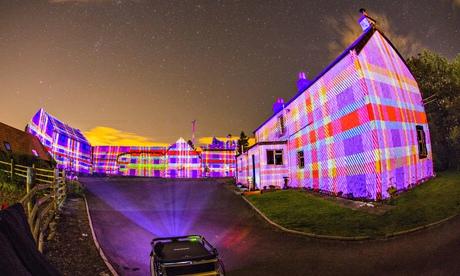 Northern lights … Leyden Farm in West Lothian has been bathed in tartan by Projector Club.