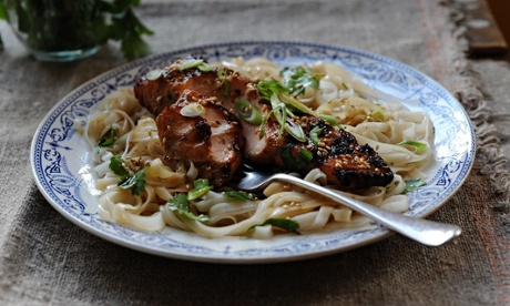 Grilled salmon with noodle salad and steamed greens
