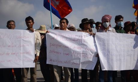 Cambodia protest against Australian refugee deal