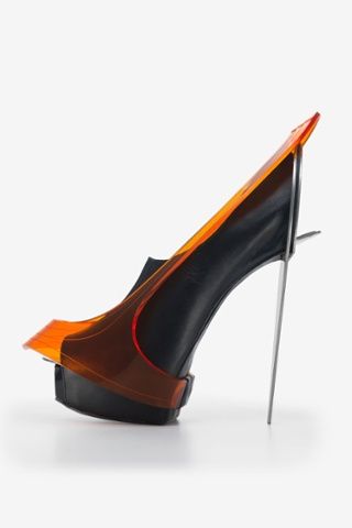 Chau Har Lee.  Blade Heel,  2010. Perspex, stainless steel, leather.