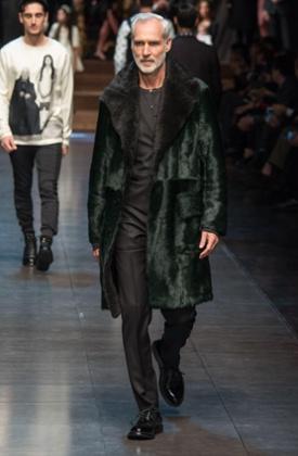 An older model on the Dolce & Gabbana catwalk