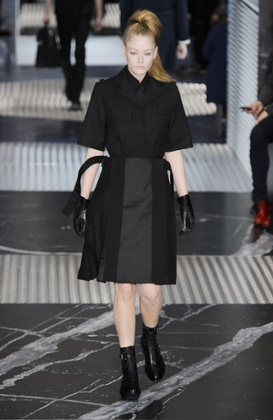 A model on the catwalk at the Prada menswear show
