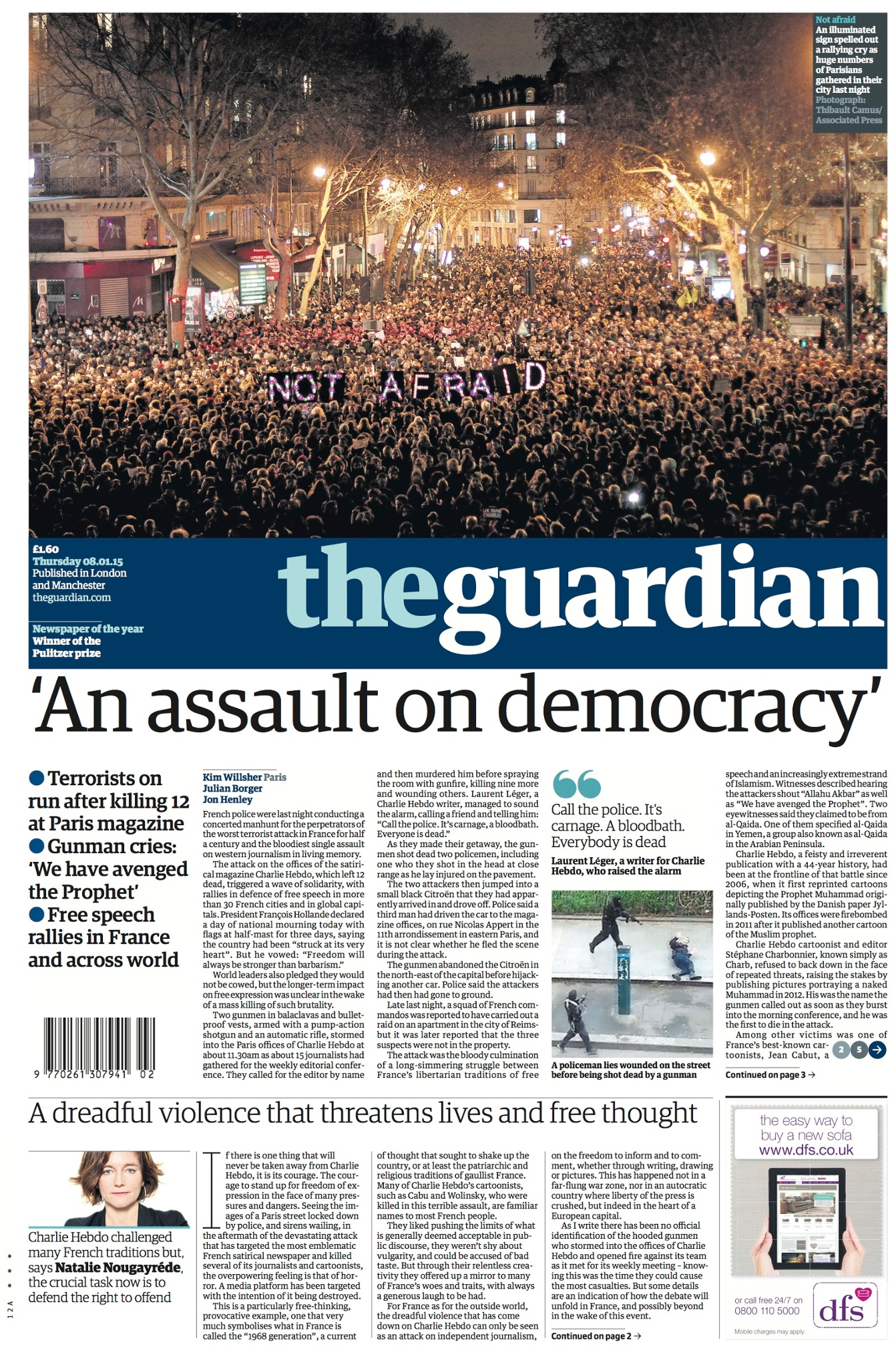 Guardian International Currency: Newspaper Front Pages After The Attack On Charlie Hebdo