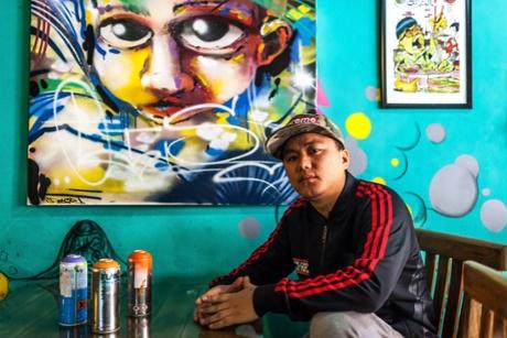 David Lalrammawia, aka Zine, graffiti artist, hip-hop fan, and owner of Mizo Diner, Delhi
