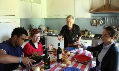 Guests and host, Angela Giaccone, at her home, whic is part of the new BeLocal scheme, Alta Langa, Piedmont, Italy
