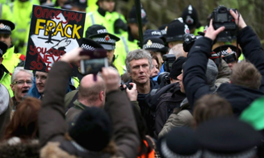 Bez at a fracking protest