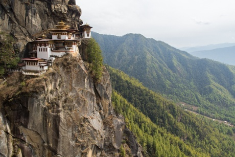 Taktsang Palphug, or 'tigers' nest' monastery, on the cliffside of the upper Paro valley.