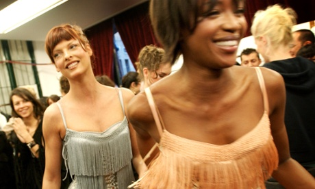 Friends of the designers, Linda Evangelista, left, and Naomi Campbell backstage at a Dolce & Gabbana show in Milan.