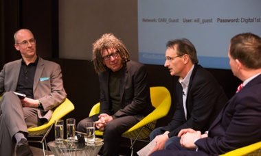 Guardian Live - Is big money ruining English football, London, 23 March 2015 (l-r) Duncan Drasco, David Goldblatt, Pat Nevin and Damian Collins.