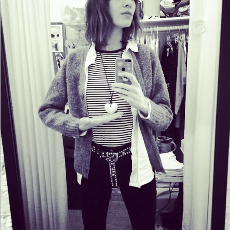 Alexa Chung in classic 1990s bobbly cardigan mode