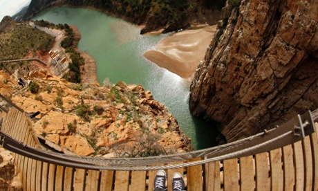 A view from the boardwalk of the new Caminito del Rey path in El Chorro, near Malaga.