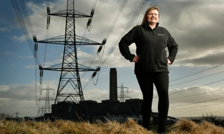 Tanya Ewing in front of Longannet power station, Fife.