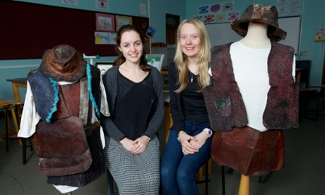 Grace Harrop (left) and Emma Howard, former pupils at Queen Elizabeth II School in Peel, Isle of Man.