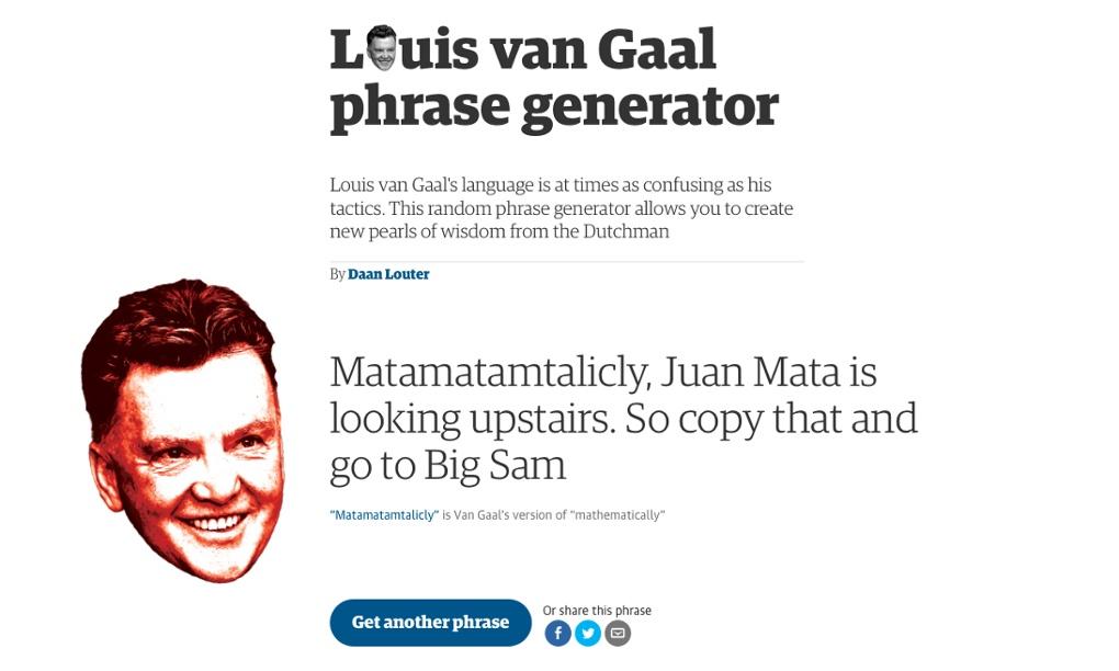 The Louis Van Gaal Phrase Generator