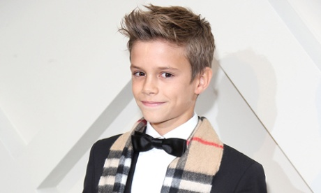 Romeo Beckham at the launch of Burberry's Christmas campaign in 2014