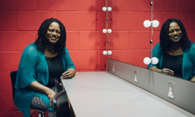 Dreda Say Mitchell backstage before Guardian Live: Diversity in the arts, 15 April 2015