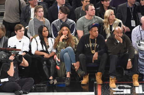 Beyonce and Jay Z at the 64th NBA All-Star game 2015 in February