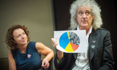 Julia Groves and Brian May speaking at Guardian Live event 20 April 2015