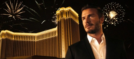 David Beckham appearing in an advertisement for The Venetian