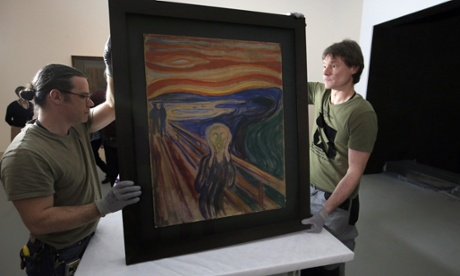 Employees present  Munch's The Scream at the Fondation Louis Vuitton.