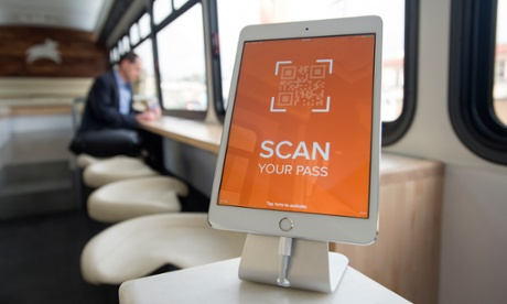 An iPad sits ready to digitally scan passes on one of Leap Transit's luxury buses in San Francisco