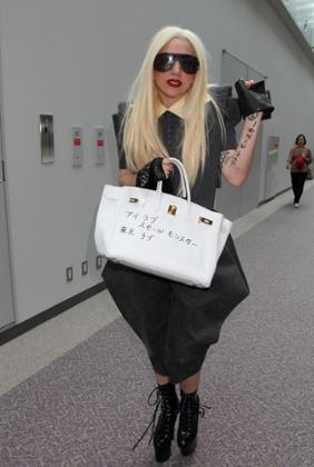 Lady Gaga with her defaced Birkin