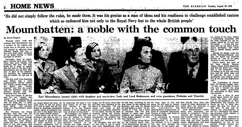 IRA bomb kills Lord Mountbatten: Guardian reporting from 1979 | UK