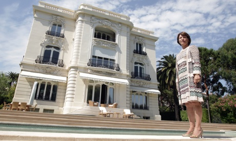 Marina Picasso in front of the Cannes villa whose gates were often closed to her while Pablo Picasso was still alive.