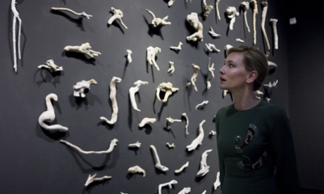 Cate Blanchett with Fiona Hall sculptures