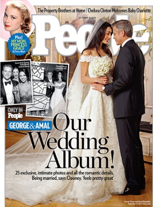 People magazine cover of the wedding of Amal Alamuddin and George Clooney.