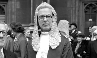 Barrister Jeremy Hutchinson leaves the House of Lords after being sworn in as a Queen's Counsel in 1961.