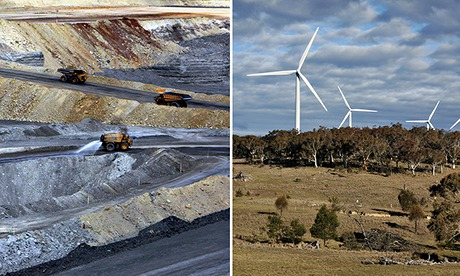 composite of a coal mine and a wind farm in Australia