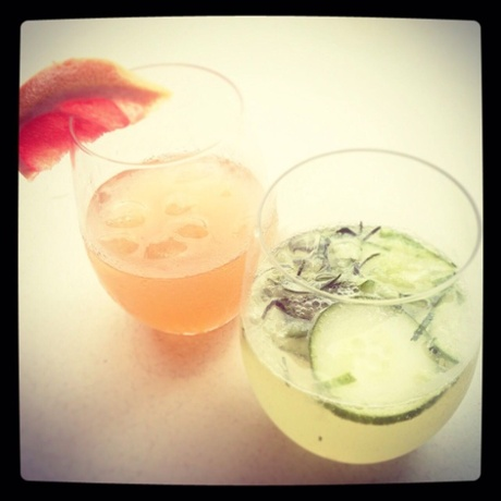 TwinnyDip's grapefruit ice tea laced with whiskey (and a cucumber collins).