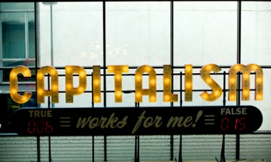 """""""Capitalism Works for Me (True/False) by Steve Lambert, one of the exhibits at FACT gallery in Liverpool, 2013."""