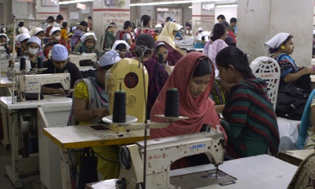 Women working at sewing machines in a fast-fashion factory